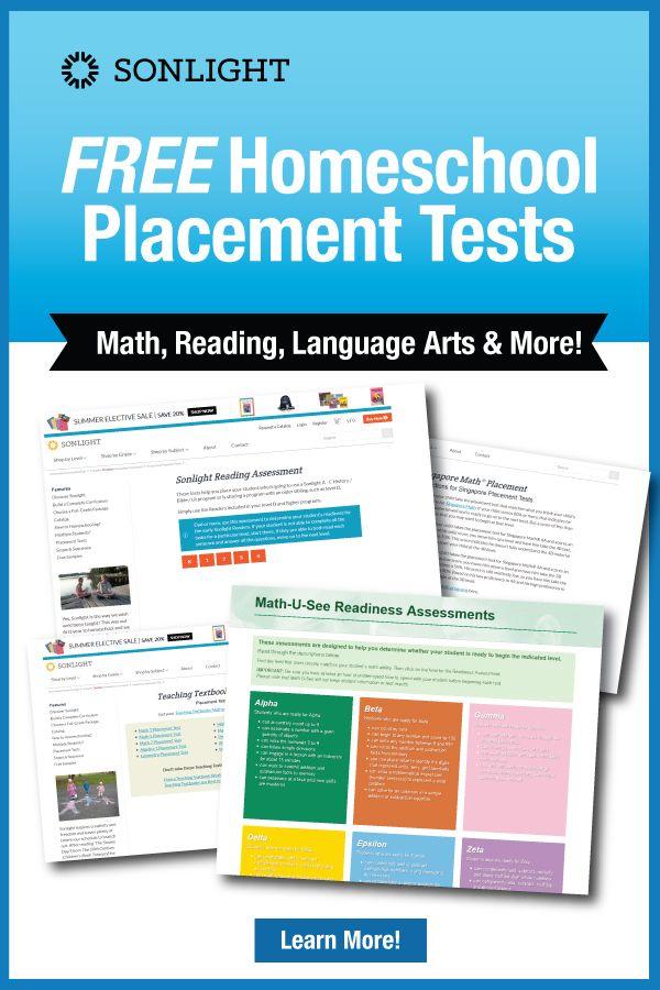 FREE Homeschool Placement Tests | Math, Reading, Language Arts