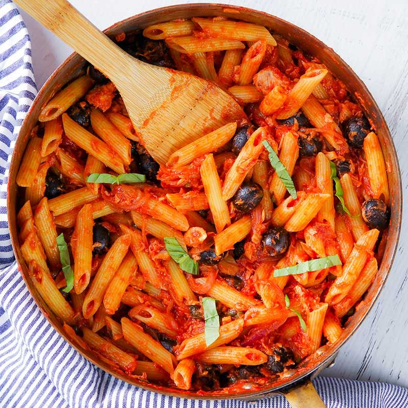 Tuna Pasta With Olives Capers And Tomato Sauce Recipe Pasta