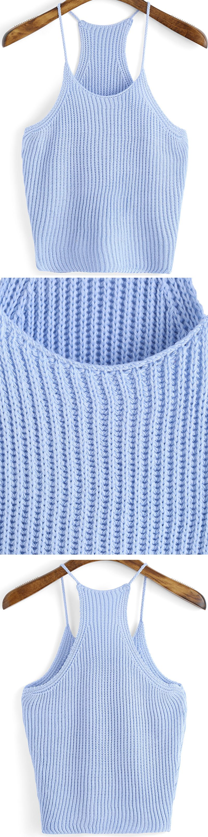 Super Soft Knit Tank Top For Hot Summer. Pretty Light Blue Vest Make A Peace