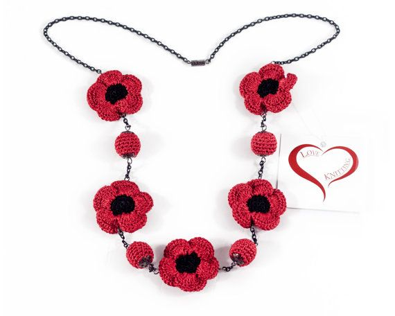 Red Neacklace Jewelry Crochet Necklace Crochet beads