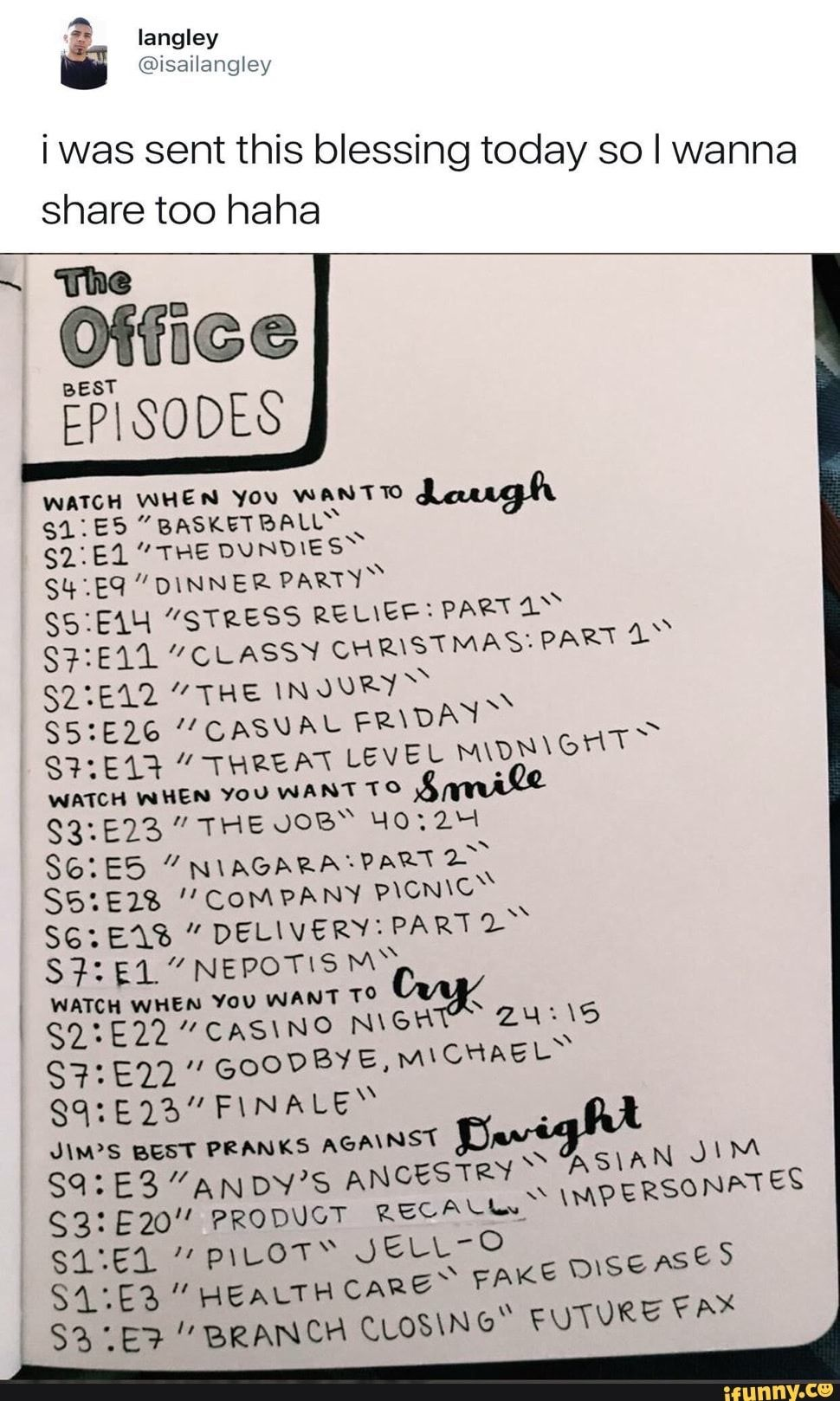Some Random Guy S List Of The Best Episodes Of The Office Office Memes The Office Show The Office