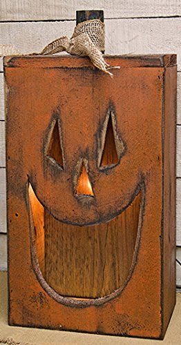 Pumpkin Large Handcrafted Wood Lighted Happy Jack O Lantern Box Primitive Country Rustic Sea Halloween Wood Crafts Primitive Halloween Fall Halloween Decor