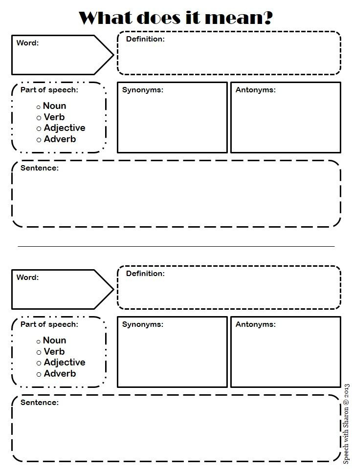 Speech With Sharon What Does It Mean Vocabulary Graphic Organizer