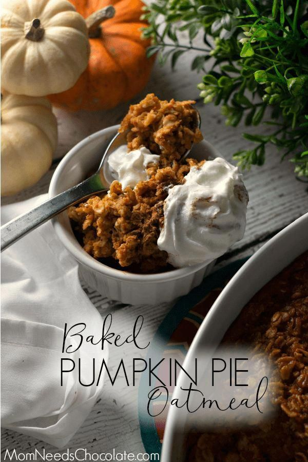 Baked Pumpkin Pie Oatmeal is a perfect fall or winter time breakfast! Filled with real pumpkin and spices like cinnamon and ginger, this is the baked oatmeal you'll want to cozy up with on a holiday or weekend morning.  |