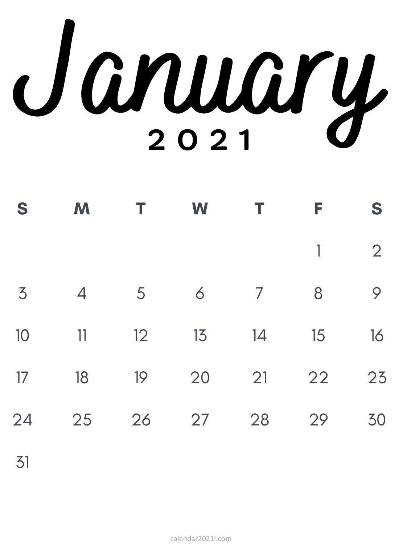 January 2021 Minimalist Printable Calendar template free ...