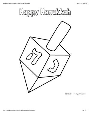 Hanukkah Coloring Page With A Large Dreidel And The Words Happy Hanukkah Happy Hanukkah Dreidel Coloring Pages