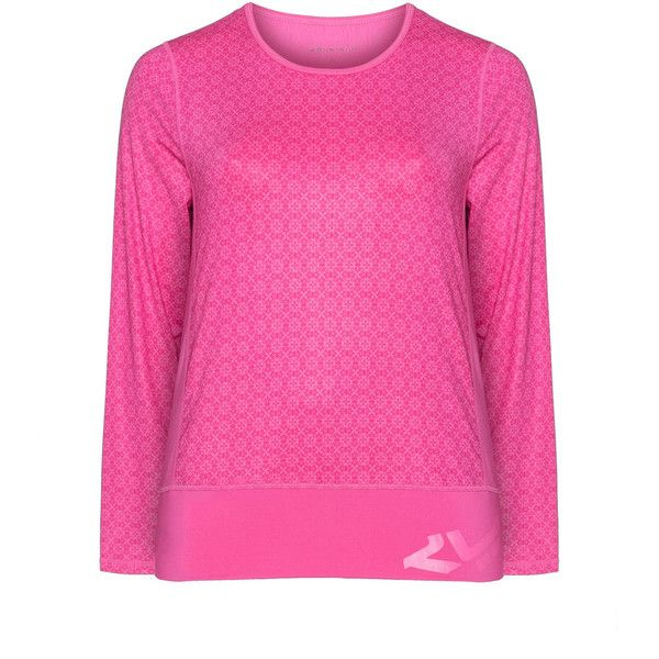 Röhnisch Pink Plus Size Printed sports top ($26) ❤ liked on Polyvore featuring activewear, activewear tops, pink, plus size, plus size activewear tops, sports activewear, color block jersey, sport jerseys and röhnisch