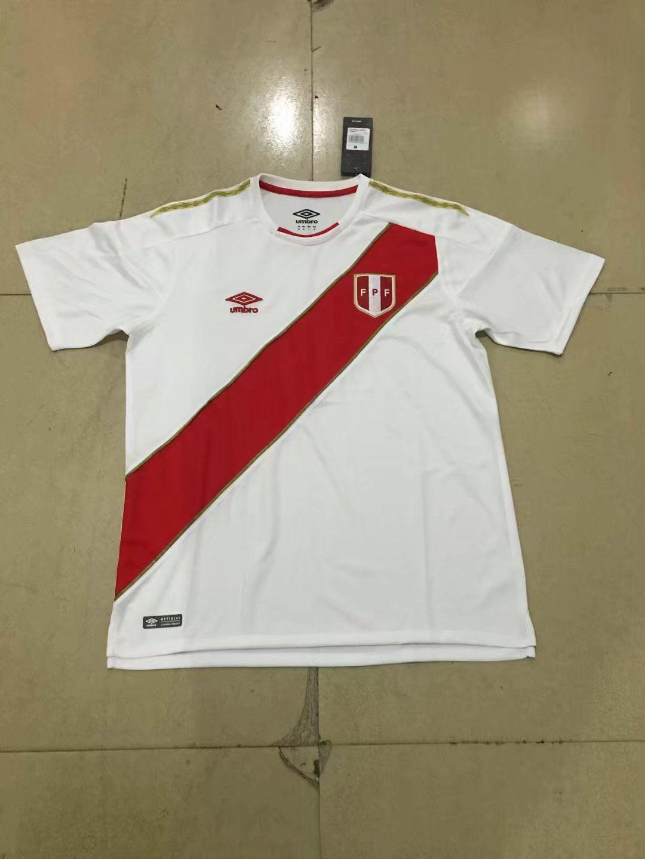 www.ibartoes.es Camisetas De Fútbol Equipos Nacionales Camiseta De Futbol  De Peru 2018-2019 Casa Blanco FT18981 4d8d0e60ee01e