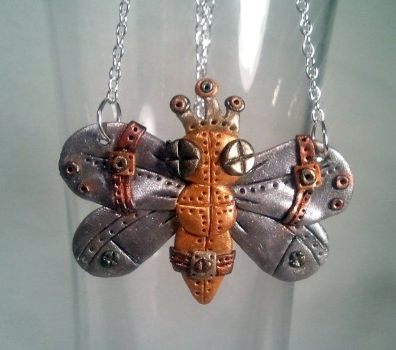Queen Bee Steam Punk Polymer Clay Necklace Royalty by AlwaysUnique, $25.00