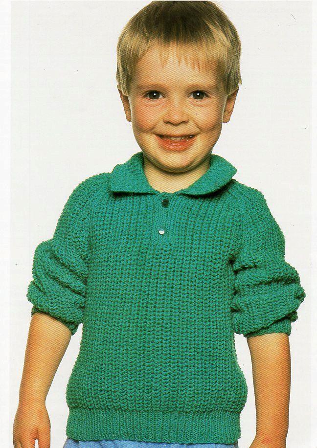 Childs Ribbed Polo Shirt Sweater Childrens Knitting Pattern Pdf