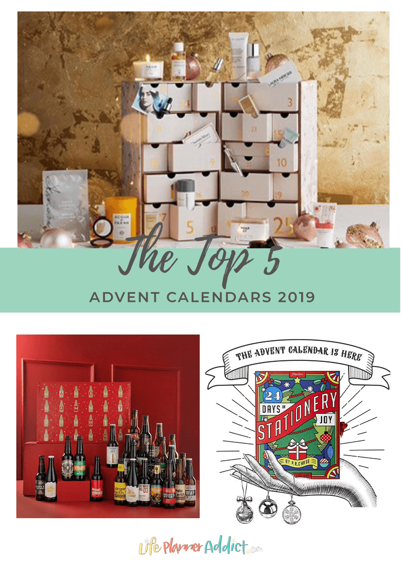 Here's my top 5 advent calendars for Christmas 2019. There is something for everyone, beauty, drink, stationery and crafts. #adventcalendarideas #adventcalendarforhusband #adventcalendarforwife #adventcalendarChristmas #ChristmasGoals #lifeplanneraddict