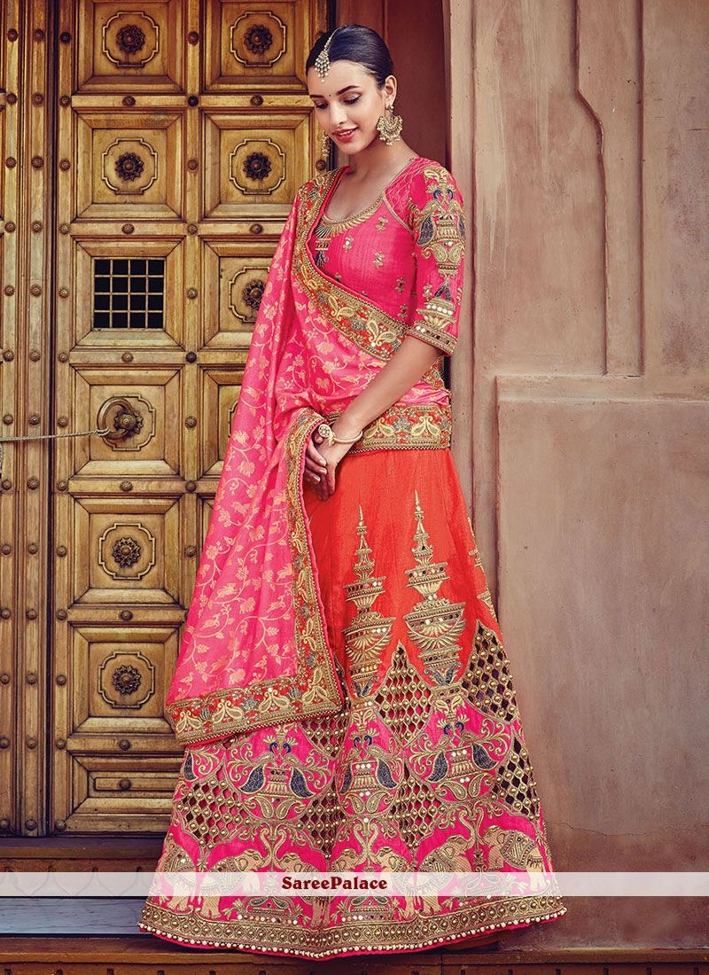 d7e52d042299 Elite Orange Raw Silk A Line Lehenga Choli