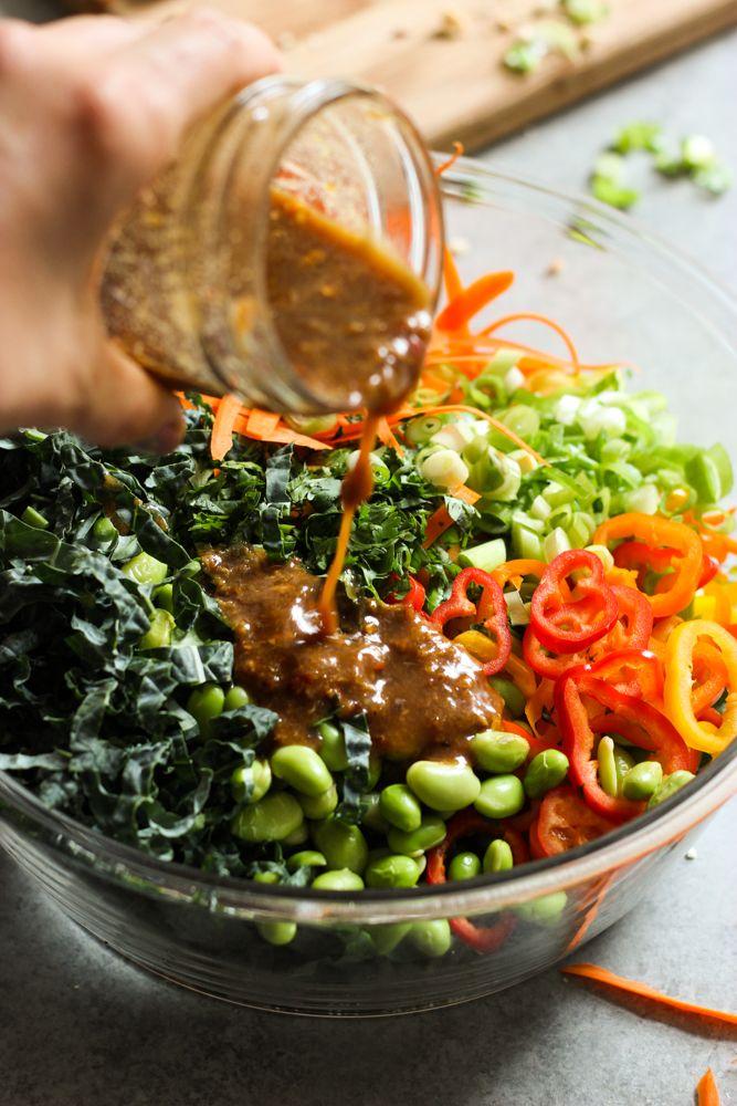Chopped Kale Salad with Peanut-Chili Vinaigrette -