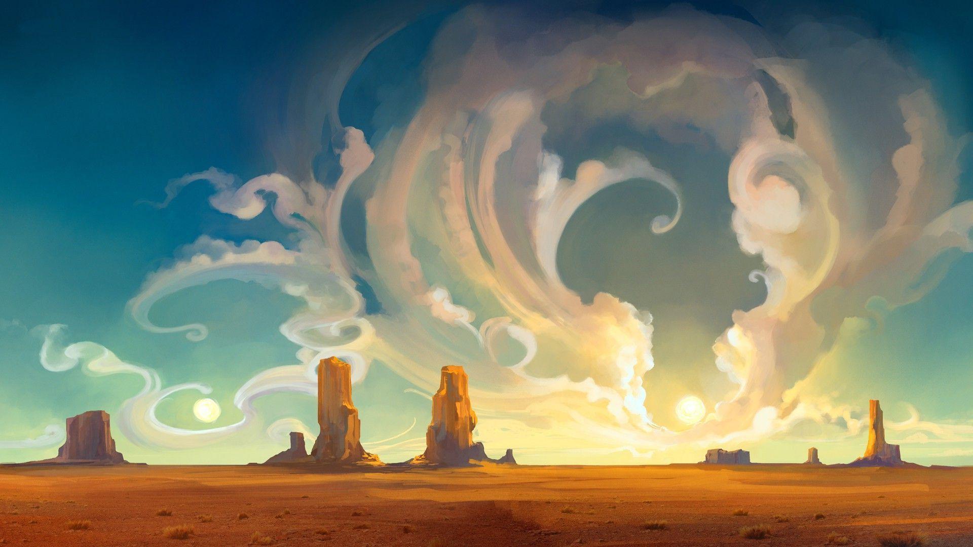 Artwork Concept Art Anime Landscape Canyon Fantasy Art Wallpapers Hd Desktop And Mobile Backgrounds Desert Art Environment Concept Art Art