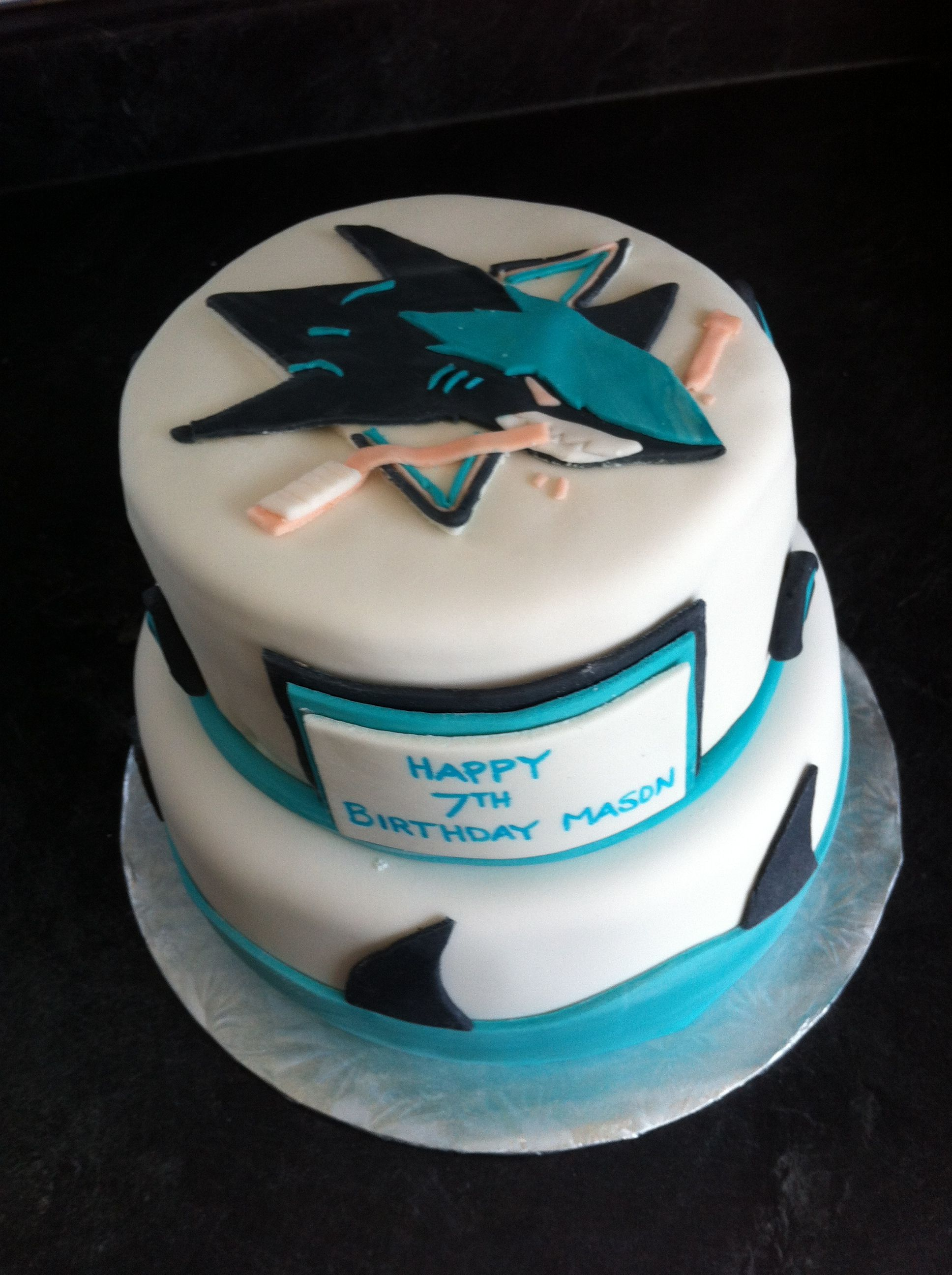 San Jose Sharks Cake I Made Boys Birthday Pinterest San Jose