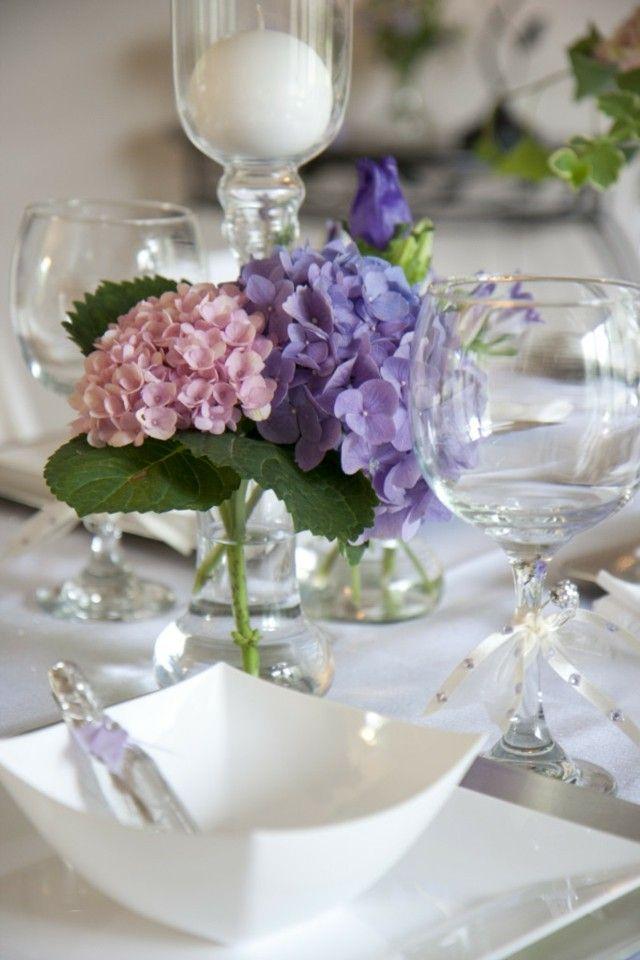 Hortensien Tisch Deko Ideen romantische Stimmung