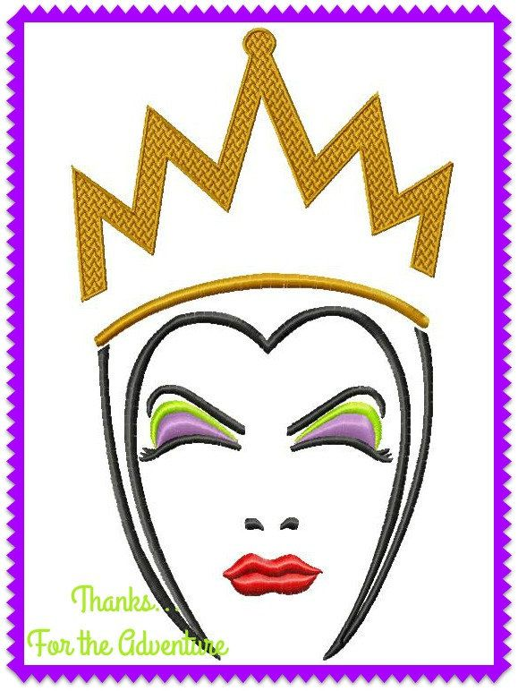 The Evil Queen Face From Snow White Sketch Digital Embroidery Etsy Machine Embroidery Designs Halloween Coloring Pages Embroidery Projects