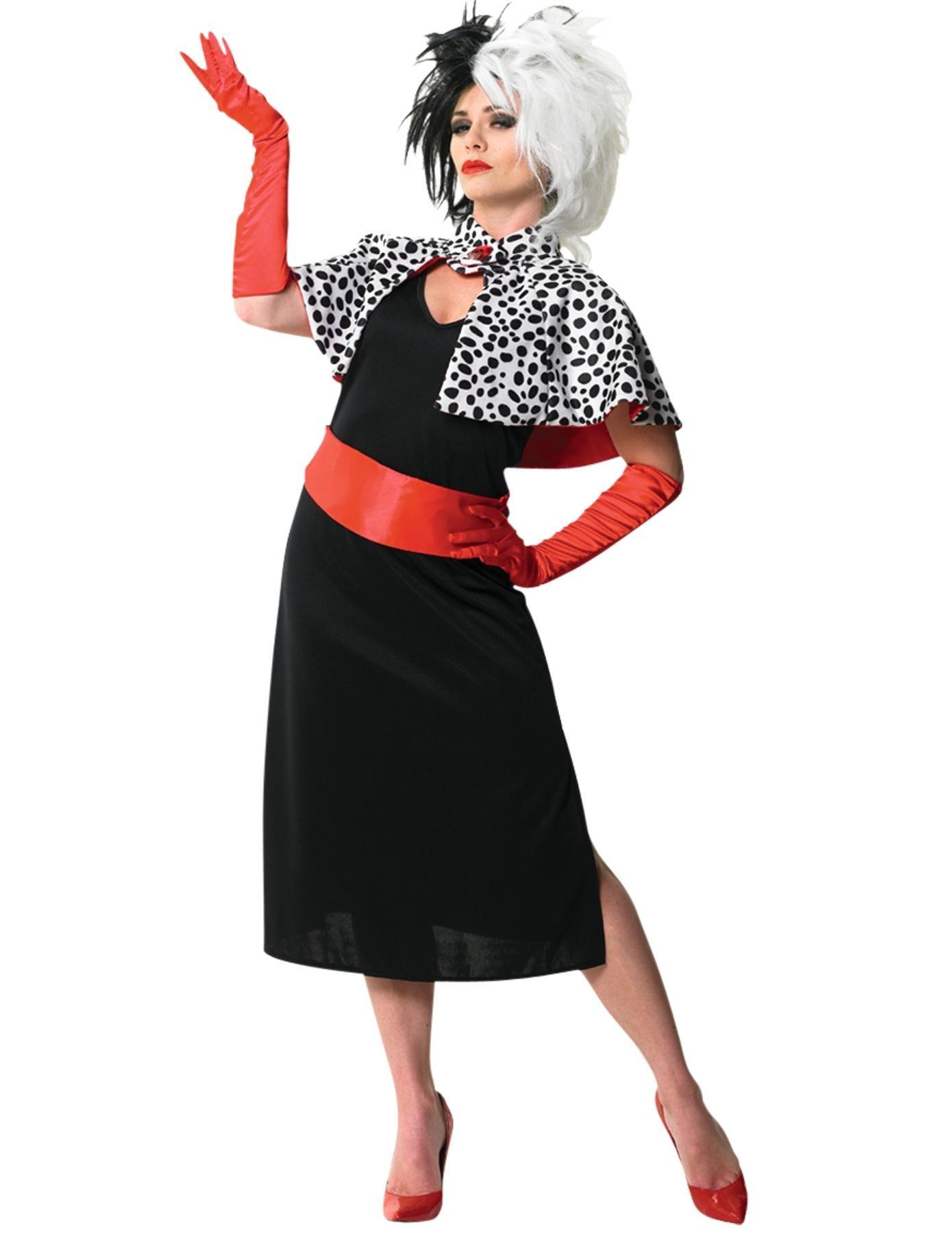 Ladies Red Cruella De Ville Costume 101 Dalmatians Halloween Fancy Dress