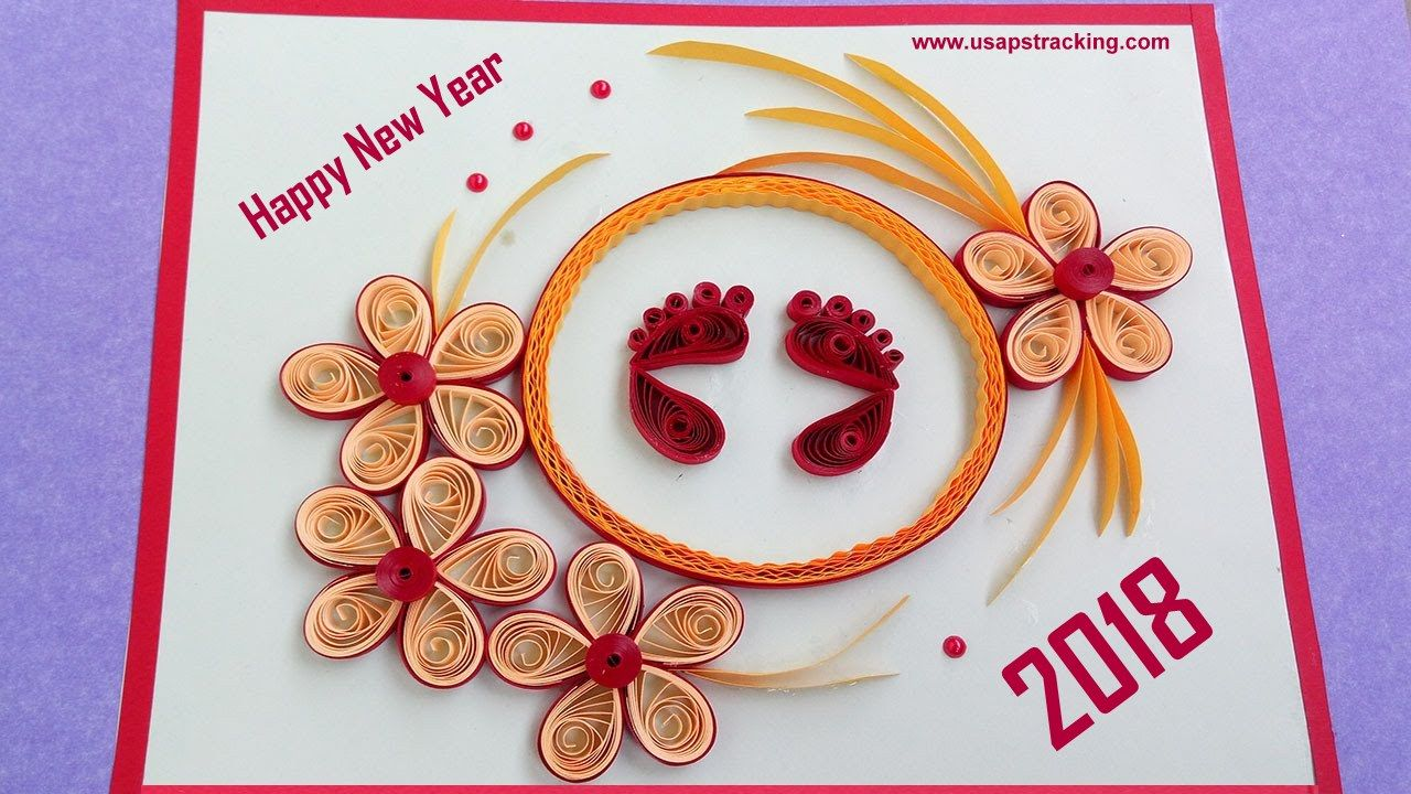 Happy new year 2018 greetings for your friends family members paper quilling greeting card how to make beautiful quilled foots prints kristyandbryce Image collections