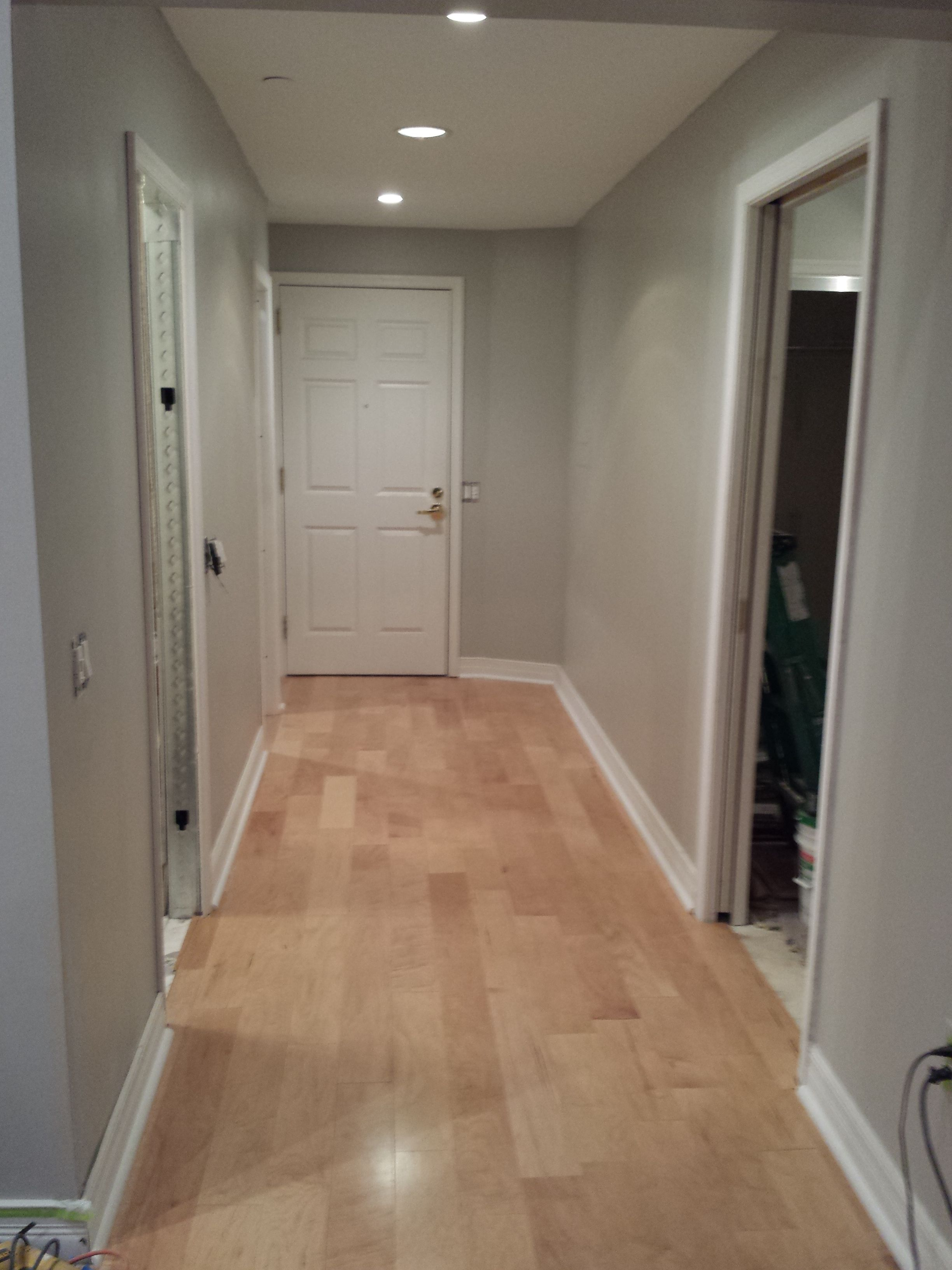 "White Kitchen Maple Floors engineered maple flooring with ""dolphin fin"" gray behr satin"