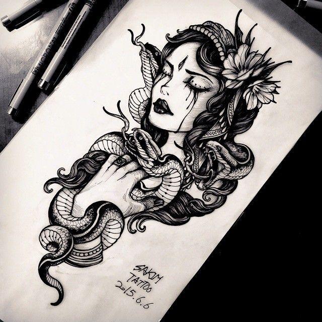 Gypsy& snake #blackwork #blackandgreytattoo #blackandgrey #blacktattoo – Inkspiration –