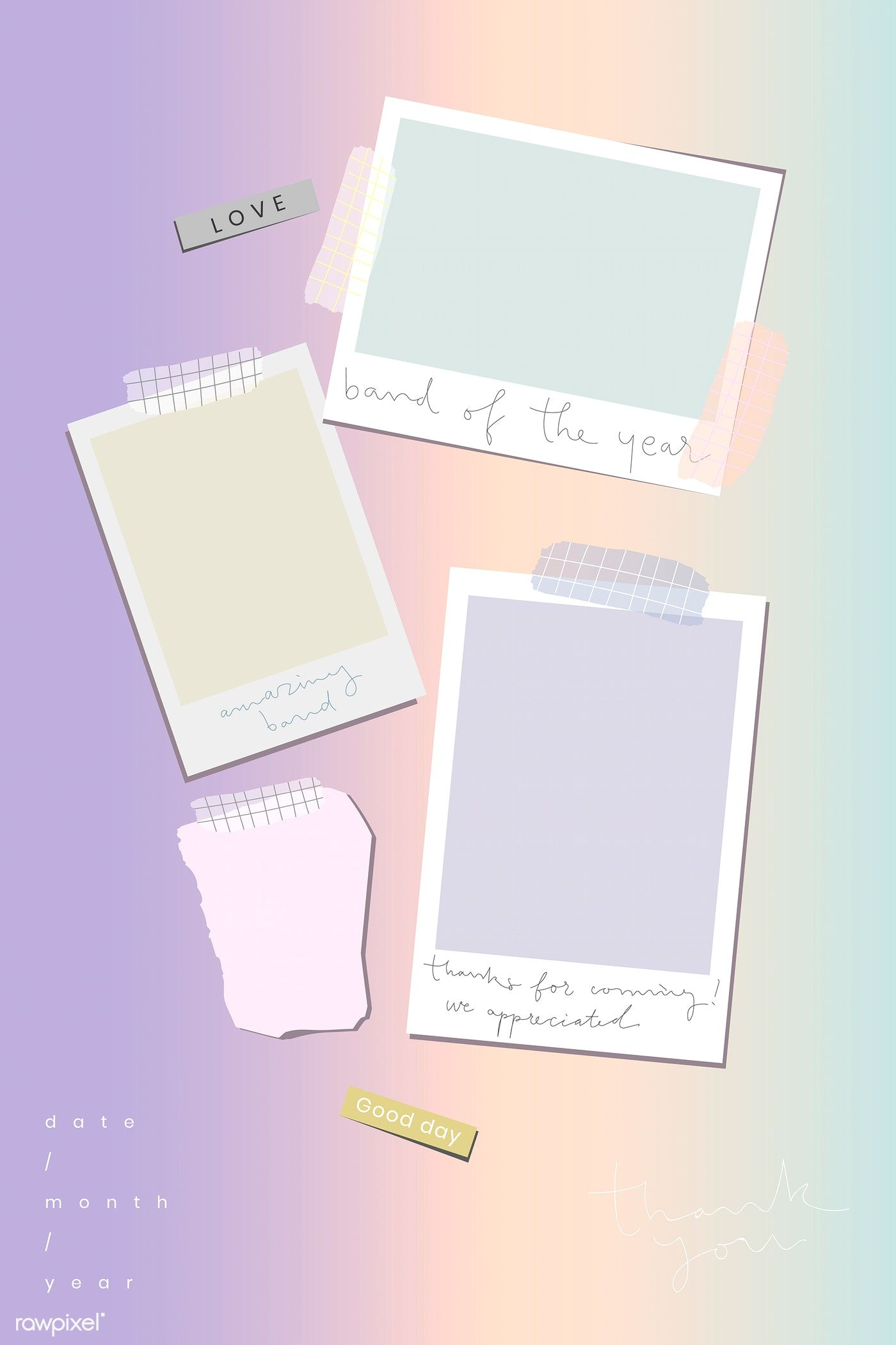 Download Premium Vector Of Blank Pastel Picture Frames Template 1206797 Bingkai Foto Kolase Foto Pengeditan Foto