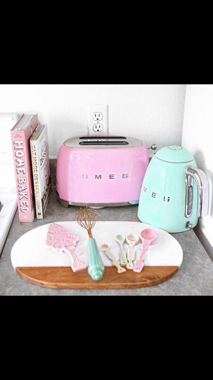Via @macbby11 Pastel Pink Smeg toaster Pastel Blue Green Smeg Kettle ...