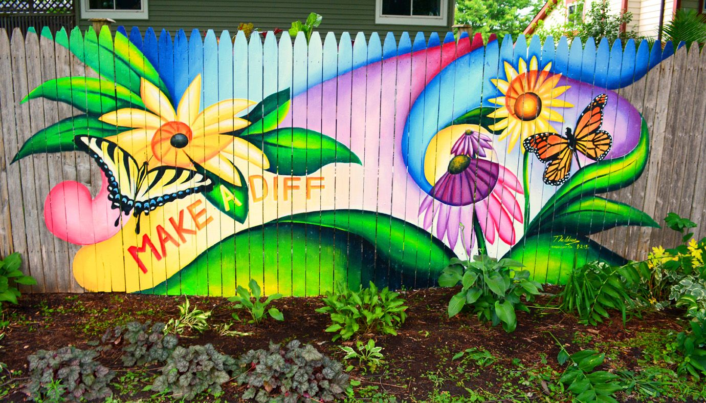 40 creative garden fence decoration ideas fence for Mural painting ideas