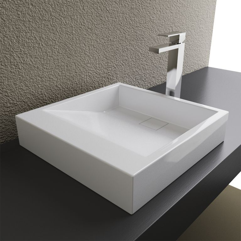 Bathroom Sinks Top Mount cantrio solid surface modern top mount bathroom sink mma-18184