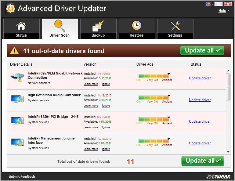 Advanced Driver Updater 2 1 Bilgisayar