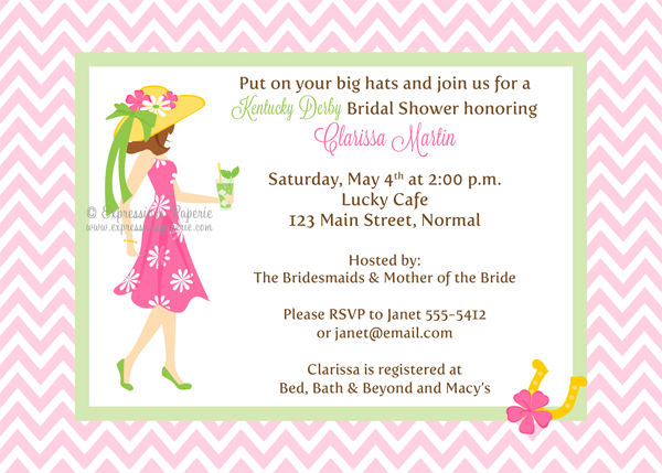 derbt style bridal invites kentucky derby bridal shower