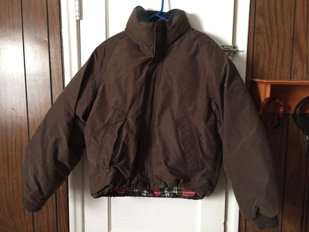 Vintage Nautica Brown Bomber Jacket Men S Large Red Plaid Lining Nautica Bomber Brown Bomber Jacket Jackets Brown Bomber Jacket Mens