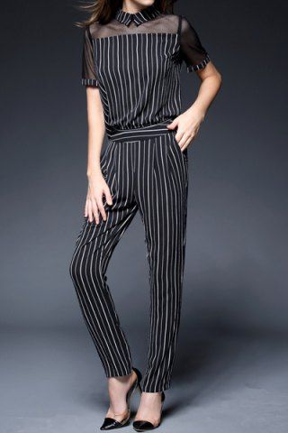 2471de9910 OL Style Flat Collar Vertical Striped See-Through Short Sleeve Jumpsuit For  WomenJumpsuits   Rompers
