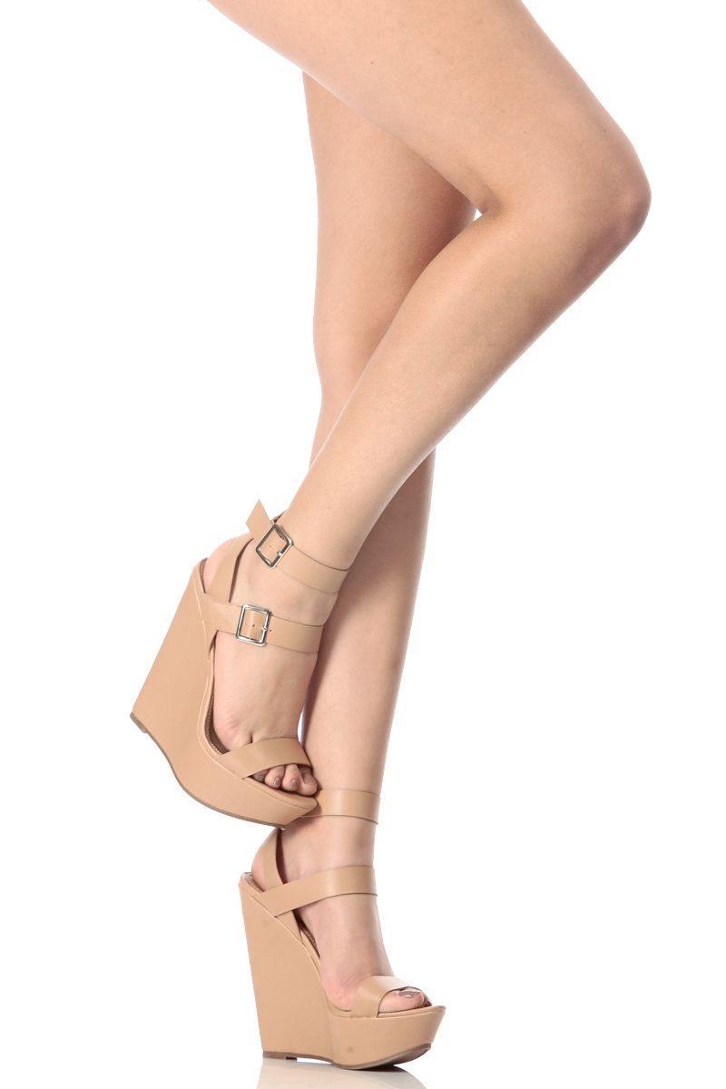 231108acfab Natural Faux Leather Double Ankle Strap Wedges   Cicihot Wedges Shoes Store Wedge  Shoes