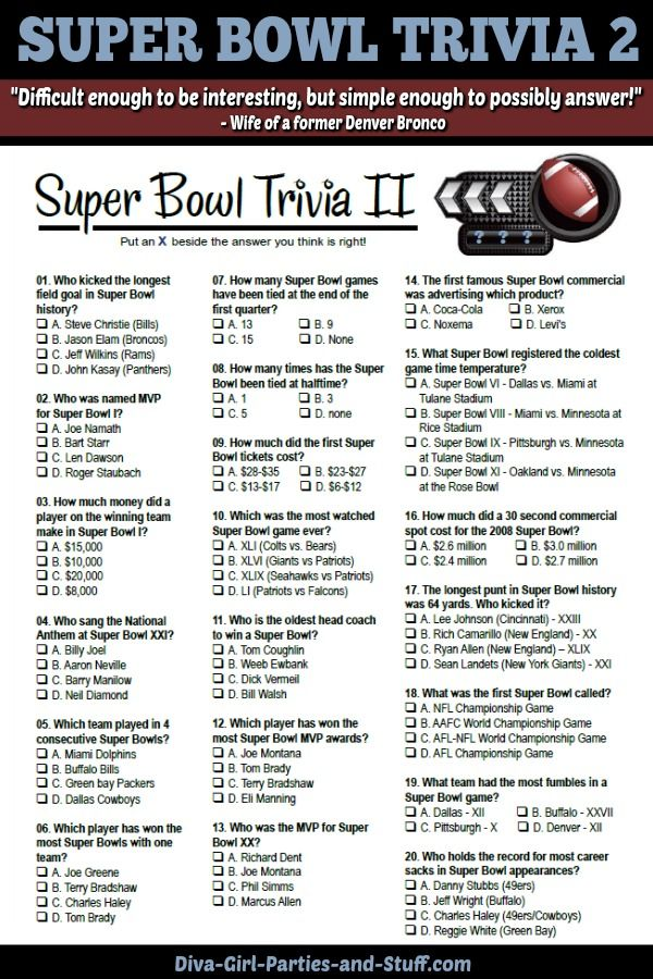 Printable Multiple Choice Super Bowl Trivia To Challenge Your Guests On Game Day Super Bowl Trivia Super Bowl Superbowl Party Games