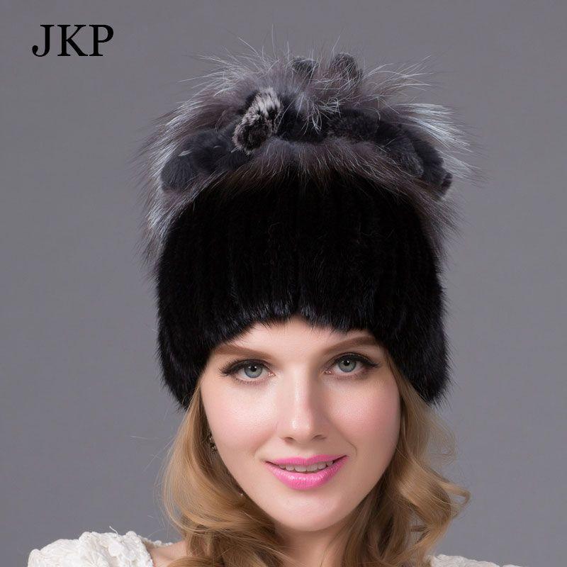 女性の帽子冬のリアルミンクの毛皮の帽子で銀キツネの毛皮ウサギの毛皮ロシアホットファッションスタイル良い品質女性ブランド暖かいキャップ
