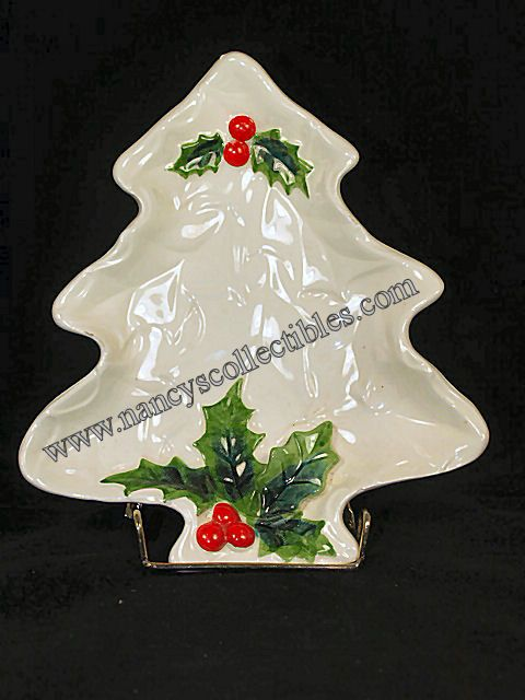 A Christmas Tree Shaped Dish In The Christmas White Holly Pattern