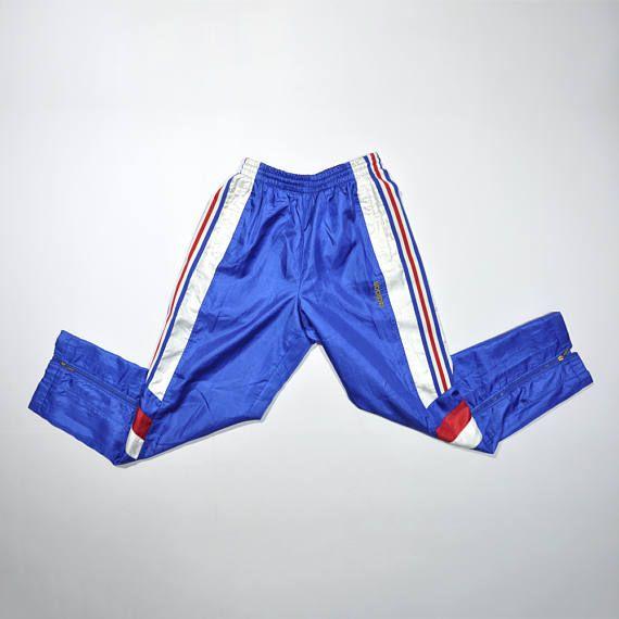 113b8c6e9ead4 Vintage ADIDAS Trackpants / 90s ADIDAS TREFOIL Triple Stripe Pants / Size  Large / Blue Pants / Track Pants / Retro Streetwear / Sportwear