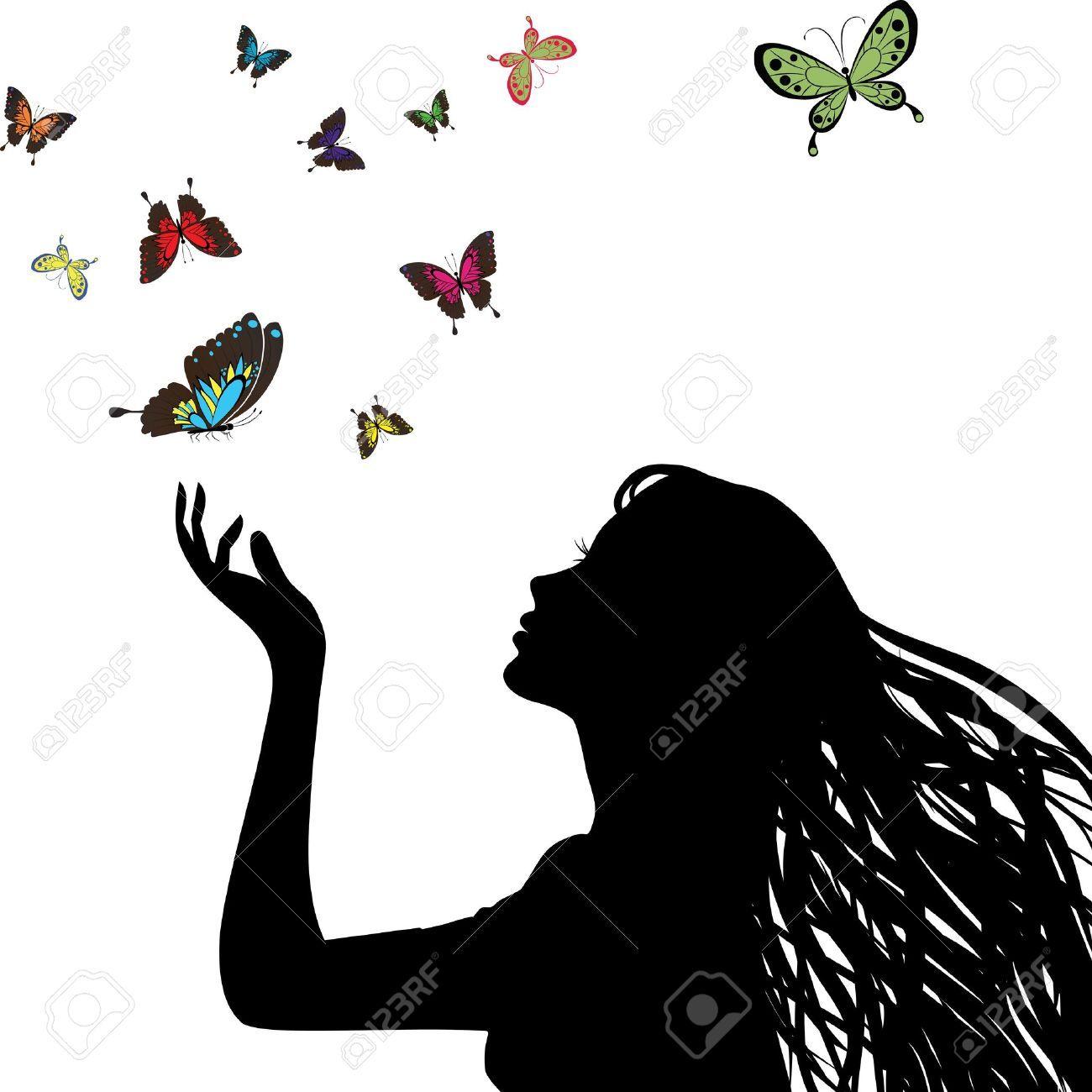 Woman face profile Female head silhouette Vector Image  Face Profile Silhouette Blowing