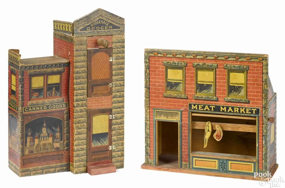 Two paper lithograph Bliss buildings, to include a Wholesale Grocer two-story building - Price Estimate: $800 - $1000