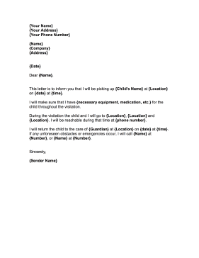 Child Visitation This Free Printable Court Letter Covers The