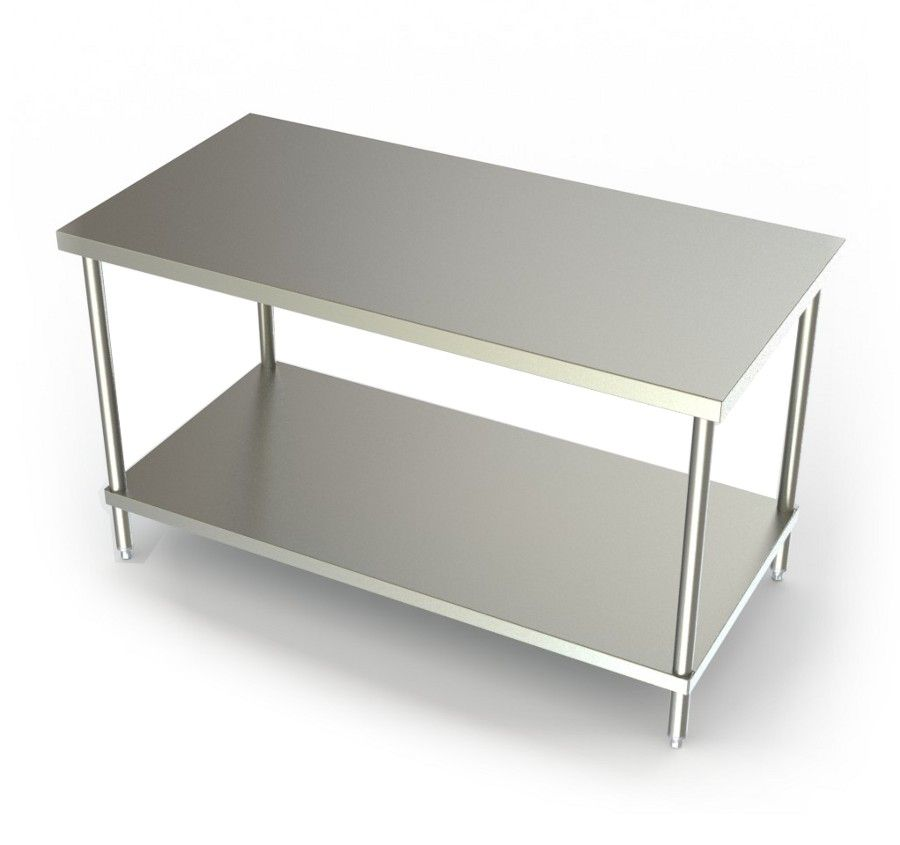 This Stainless Steel Table Provides A Sturdy Work Surface In Any Commercial  Or Residential Setting. The Flat Top Work Table With Stainless Steel  Undershelf ...