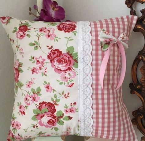Photo of 2x Kissenhuellen Set Shabby Chic Rose New Handwork
