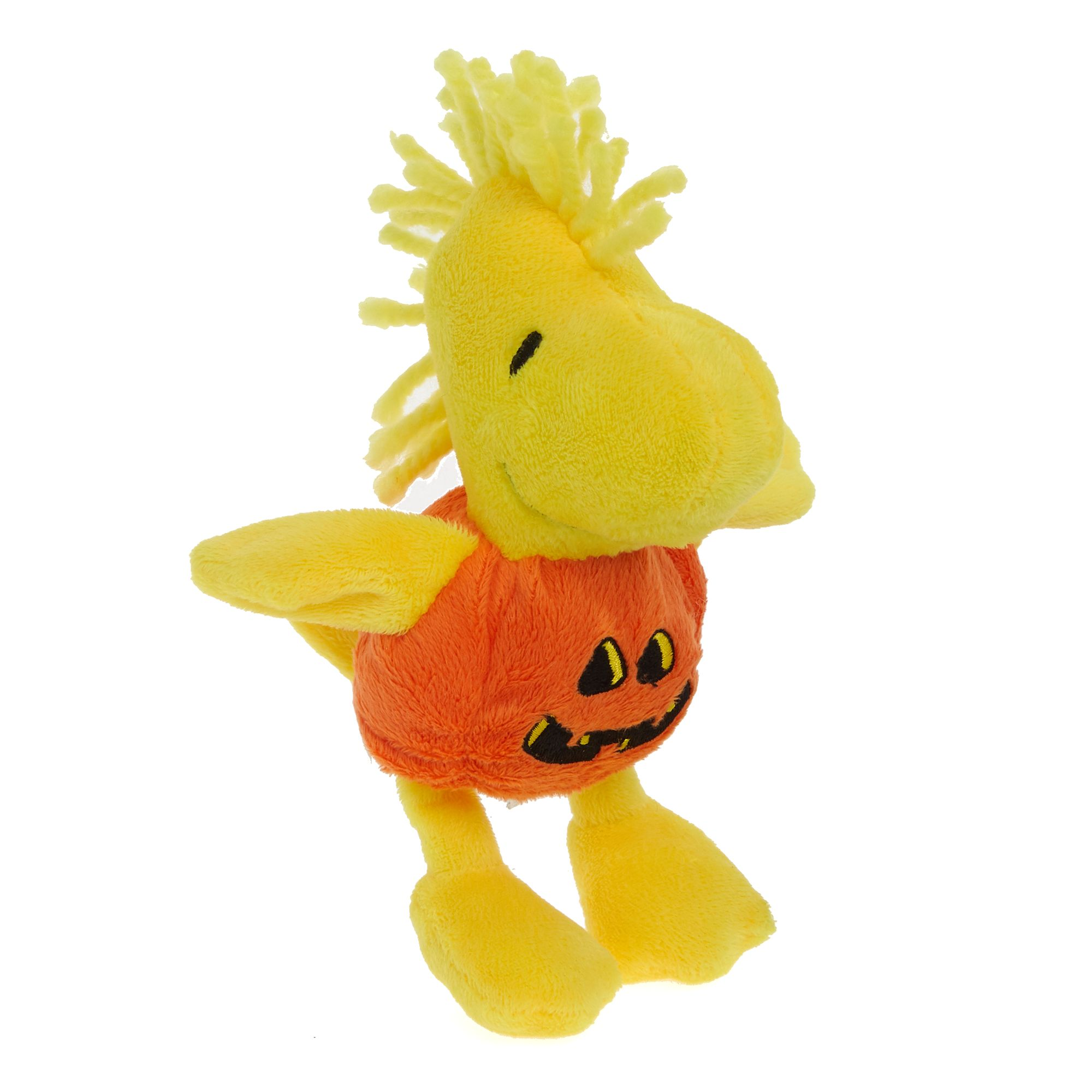 Peanuts Halloween Woodstock Pumpkin Dog Toy Plush Squeaker Size