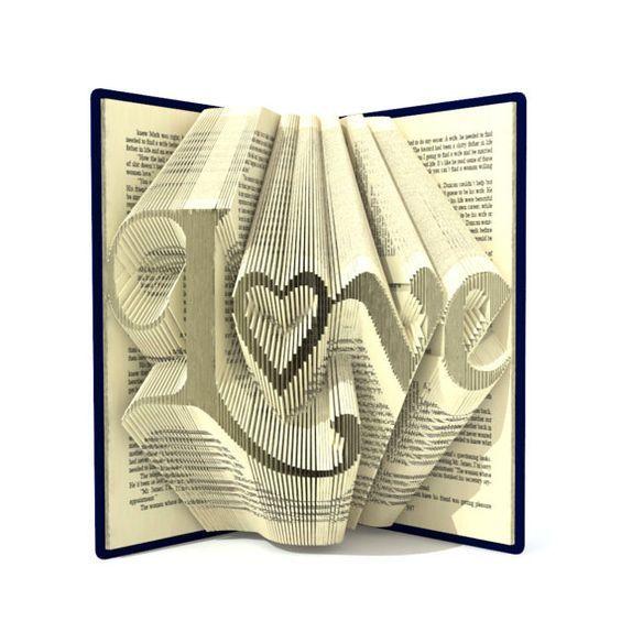 Book folding patterns LOVE 278 folds, + Tutorial