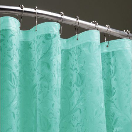 Floral 3D Shower Liner Waterresistant Ocean Blue