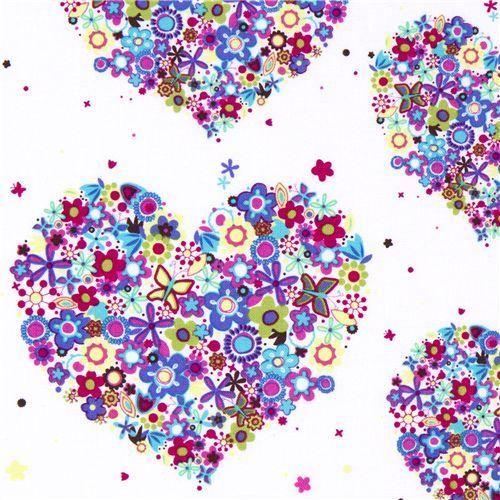 Michael Miller Material | Michael Miller flower fabric colourful heart florets