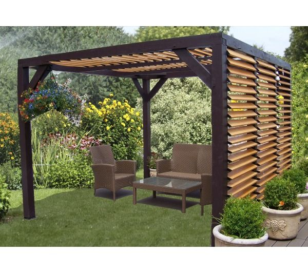 pergola carport ombra bois 3 93x3 10 m avec lames orientables en bois sur le c t et sur. Black Bedroom Furniture Sets. Home Design Ideas