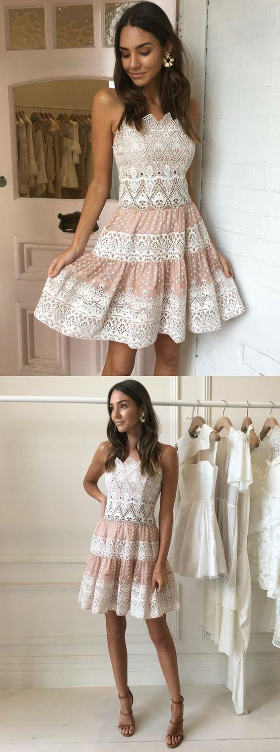 Aline spaghetti straps aboveknee white lace homecoming dress in