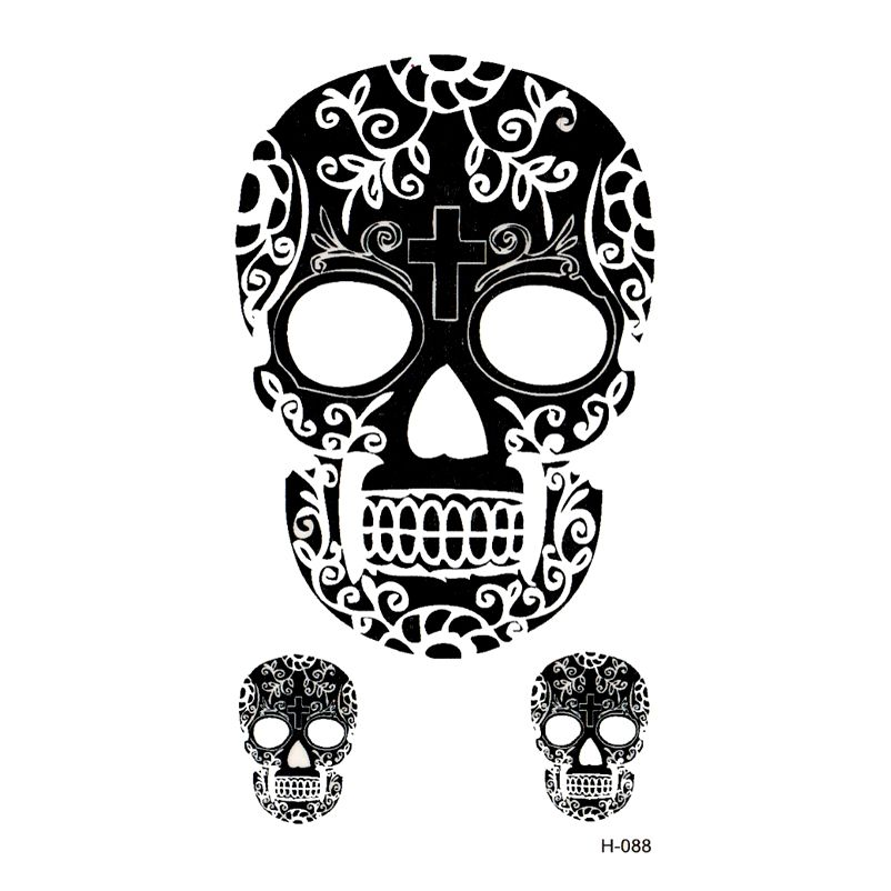New skull temporary tattoos sticker waterproof temporary body arts flash tattoo sticker tatoo men and women
